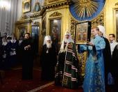 Святейший Патриарх Кирилл совершил утреню с чтением Акафиста Пресвятой Богородице в домовом храме главного корпуса Санкт-Петербургской духовной академии