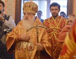 В праздник Светлого Воскресения Христова митрополит Филарет совершил Божественную литургию в домовом храме Минского епархиального управления