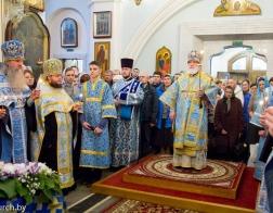 В канун праздника Благовещения Пресвятой Богородицы Патриарший Экзарх совершил всенощное бдение в Свято-Духовом кафедральном соборе города Минска