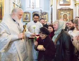 В Лазареву Субботу Патриарший Экзарх совершил Литургию в Свято-Духовом кафедральном соборе города Минска