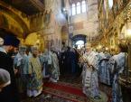 В праздник Благовещения Пресвятой Богородицы Предстоятель Русской Церкви совершил Литургию в Благовещенском соборе Московского Кремля