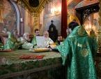В праздник Святой Троицы Предстоятель Русской Церкви совершил Литургию в Троице-Сергиевой лавре