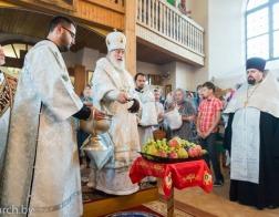 В канун праздника Преображения Господня Патриарший Экзарх совершил всенощное бдение в Преображенском кафедральном соборе города Заславля