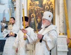 В канун Недели 11-й по Пятидесятнице Патриарший Экзарх совершил всенощное бдение в Свято-Духовом кафедральном соборе города Минска