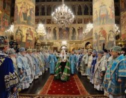 В праздник Успения Пресвятой Богородицы Патриарший Экзарх всея Беларуси сослужил Предстоятелю Русской Церкви за Литургией в Патриаршем Успенском соборе Московского Кремля