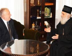 Патриарх Сербский Ириней встретился с послом Беларуси в Сербии Валерием Брилевым