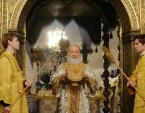 В праздник Собора Пресвятой Богородицы Святейший Патриарх Кирилл совершил Литургию в Успенском соборе Кремля