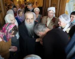В праздник Сретения Господня митрополит Филарет совершил Литургию в домовом храме Минского епархиального управления