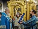 Предстоятель Русской Церкви совершил утреню с чтением Акафиста Пресвятой Богородице в Богоявленском соборе г. Москвы