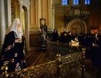 В канун вторника Страстной седмицы Святейший Патриарх Кирилл принял участие в вечернем богослужении в Иоанно-Предтеченском монастыре в Москве