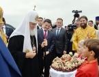 Святейший Патриарх Кирилл совершил Литургию в Преображенском соборе подмосковной Каширы