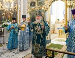 В канун праздника Покрова Пресвятой Богородицы Святейший Патриарх Кирилл совершил утреню всенощного бдения в Свято-Духовом кафедральном соборе города Минска